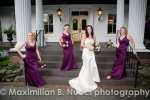 bride and bridesmaids on steps